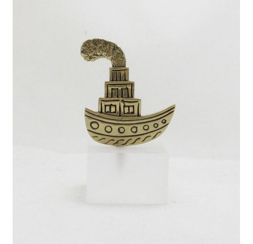 "Sclupture on Plexi Glass base- ""Ship with smokestack"""