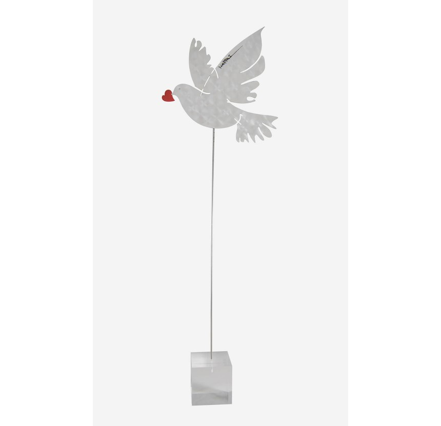 Aluminum Dove with a heart